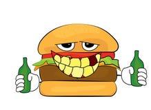 Desenhos animados bêbados do hamburguer Fotografia de Stock