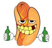 Desenhos animados bêbados do hotdog Imagens de Stock