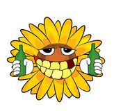 Desenhos animados bebendo do girassol Fotografia de Stock Royalty Free