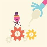 Desenhos animados bem sucedidos do motor do homem de negócios Imagem de Stock Royalty Free