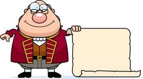 Desenhos animados Ben Franklin Parchment ilustração do vetor