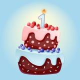 Desenhos animados bonitos bolo festivo de um aniversário de 1 ano com uma vela Biscoito do chocolate com bagas, cerejas e mirtilo ilustração do vetor