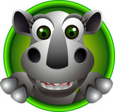 Desenhos animados bonitos da cabeça do rinoceronte Fotografia de Stock Royalty Free