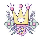 Desenhos animados bonitos da coroa da rainha Imagem de Stock