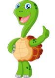 Desenhos animados bonitos da tartaruga que dão o polegar acima Foto de Stock Royalty Free