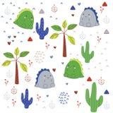 Desenhos animados bonitos de Dino no selvagem ilustração do vetor