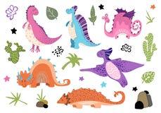 Desenhos animados bonitos Dino - ajuste dos caráteres ilustração do vetor