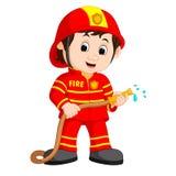 Desenhos animados bonitos do bombeiro ilustração royalty free