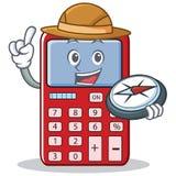 Desenhos animados bonitos do caráter da calculadora do explorador ilustração do vetor