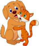 Desenhos animados bonitos do cão e gato que abraçam-se Fotos de Stock