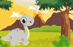 Desenhos animados bonitos do dinossauro com o fundo pré-histórico Imagem de Stock