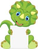 Desenhos animados bonitos do dinossauro que guardam o sinal vazio Imagens de Stock Royalty Free