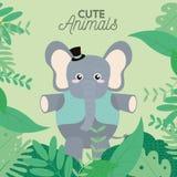 Desenhos animados bonitos do elefante Fotos de Stock Royalty Free