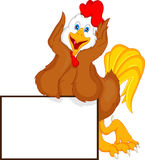 Desenhos animados bonitos do galo com sinal vazio Fotos de Stock Royalty Free