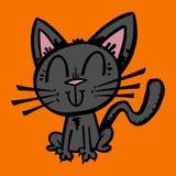 desenhos animados bonitos do gato preto ilustração do vetor