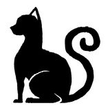 desenhos animados bonitos do gato preto ilustração stock