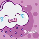 Desenhos animados bonitos do kawaii da nuvem ilustração stock