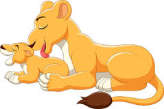 Desenhos animados bonitos do leão da mãe e do bebê ilustração royalty free