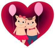 Desenhos animados bonitos do leitão do Valentim no coração ilustração royalty free