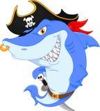 Desenhos animados bonitos do pirata do tubarão Foto de Stock Royalty Free
