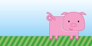Desenhos animados bonitos do porco com grama verde e o céu azul Fotos de Stock