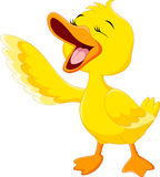 Desenhos animados bonitos do riso do pato Foto de Stock