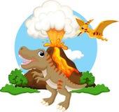 Desenhos animados bonitos do tiranossauro e do pterodátilo com fundo do vulcão ilustração stock