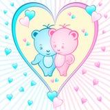 Desenhos animados bonitos do urso em um coração Fotos de Stock Royalty Free