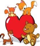 Desenhos animados bonitos dos animais com coração dos Valentim   Fotografia de Stock Royalty Free