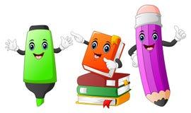 Desenhos animados bonitos dos artigos de papelaria Imagens de Stock Royalty Free