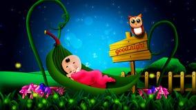 Desenhos animados bonitos dos bebês que dormem no berço das folhas, fundo video do melhor laço para que as música de ninar ponham ilustração royalty free