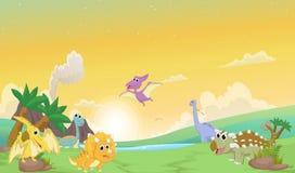 Desenhos animados bonitos dos dinossauros com paisagem pré-histórica Foto de Stock