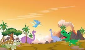 Desenhos animados bonitos dos dinossauros com paisagem pré-histórica Fotografia de Stock