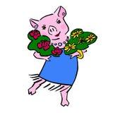 Desenhos animados bonitos felizes do porco do vetor com ramalhete ilustração do vetor