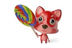 Desenhos animados bonitos Firefox com pirulito, ilustração 3D Fotos de Stock Royalty Free