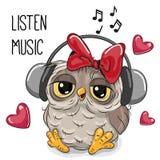 Desenhos animados bonitos Owl Girl com fones de ouvido Imagem de Stock Royalty Free