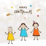 Desenhos animados bonitos pequenos das crianças no cartaz da celebração do Feliz Natal Fotografia de Stock