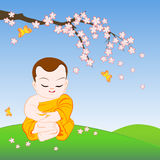Desenhos animados budistas da monge Imagem de Stock