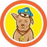 Desenhos animados caninos do círculo do cão de polícia Fotografia de Stock Royalty Free