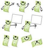 Desenhos animados cem contas de dólar Fotos de Stock Royalty Free