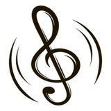 Desenhos animados chaves do ícone da música ilustração stock
