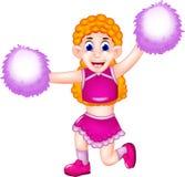 Desenhos animados cheerleading da beleza que levantam com riso ilustração royalty free