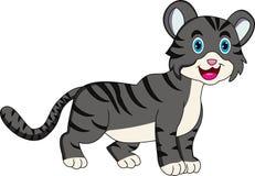 Desenhos animados cinzentos bonitos do gato ilustração royalty free
