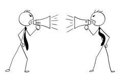 Desenhos animados conceptuais de dois homens de negócios com megafone ilustração royalty free