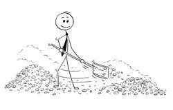 Desenhos animados conceptuais do homem de negócios rico Shovel Gold Money dentro do cofre-forte ilustração do vetor