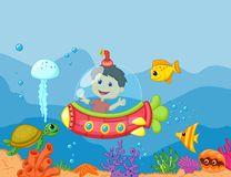 Desenhos animados crianças no submarino Imagem de Stock Royalty Free