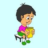 Desenhos animados da agitação de leite bebendo do menino Imagens de Stock