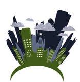 Desenhos animados da arquitectura da cidade Fotografia de Stock Royalty Free