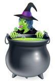 Desenhos animados da bruxa e do caldeirão Fotos de Stock