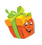 Desenhos animados da caixa de presente com face engraçada Foto de Stock Royalty Free